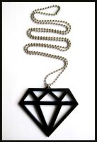 Black Acrylic Diamond Necklace by cherryboop
