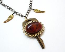 Fused Glass and Key by salvagedsword