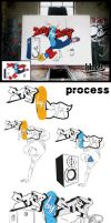 Step by Step Graffiti process by TheArtofBlouh