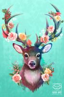Deer of Spring - Pop Art collection by Ruby--Art