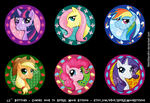 MLP Mane Six Button Set by NikkiWardArt