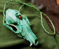 Painted fox skull necklace by lupagreenwolf
