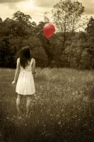 Red Balloon, White Dress by smISO