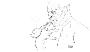 Old Smoking Orc lineart by gundreamalita