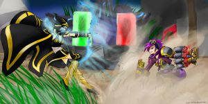 Art Trade: Ashe vs Vi by LuyenM