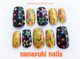 Electric Color nails by Nanayuki