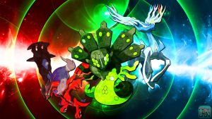 Pokemon Wallpaper: Xerneas Yveltal and Zygarde by FRUITYNITE