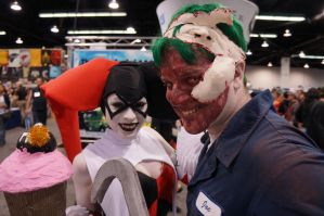 New 52 Joker v.1 and Ame Comi Harley Quinn by Sparrow626