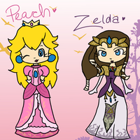 Peach and Zelda by TopHatical