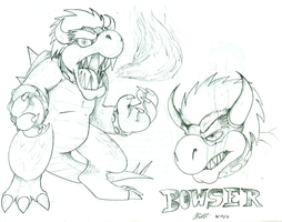 Bowser sketches by Kirbopher15