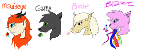 Maddelyn, Garry, Belle, and Blaze ref sheets by Helkie-three