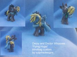 MLP FiM customs: Derpy and Doctor Whooves - hugs! by vulpinedesigns