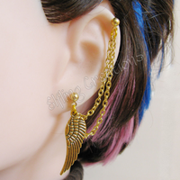 Gold Wing Cartilage Chain Earring by merigreenleaf