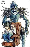 Commission: L and Ryuk by Ezaura