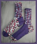 Purple and red camo ''raggsokk'' socks by KnitLizzy