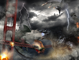 Godzilla 2014 vs trespasser by ThrillerzillaArt