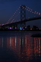 Night reflections-Detroit river by dogman63