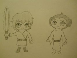 Star Wars Chibis: Luke and Leia by sucre-miel