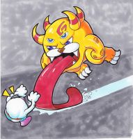 super mario RPG Belome vs. Mallow marker drawing by JoeOiii