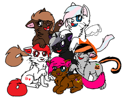 my oced main 6 as cats by webkinzfun8