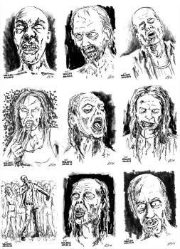 The Walkers Among Us - zombie sketch cards 3 by siebo7