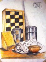 5 objects next to chessboard by Samidare-Jin