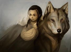 Arya and Nymeria by winderly