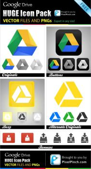 New Google Drive Free Vector and PNG Icon Pack by abhashthapa