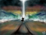 Moses splitting the Red Sea (iPad finger painting) by chaseroflight