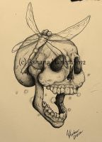 Dragonfly and Laughing Skull by 0ashana0