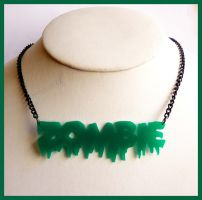 Green Zombie Acrylic Necklace by cherryboop
