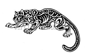 Aztec Jaguar Tattoo Commission by WildSpiritWolf