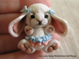 Rabbit Bunny girl from polymer clay by Littlelovelythings