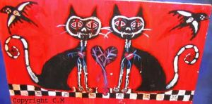 Skeletal Love Cats by moew