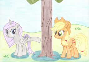 Apple bucking with Applejack and Dewy Lilac by GammaLykos