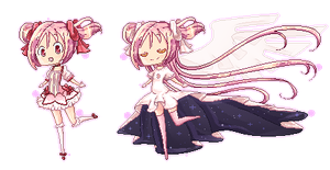 Pixel Madoka(mi) by MagicallyBlue