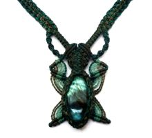 Butterfly Macrame Necklace with Labradorite stone by hyppiechic