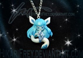 Glaceon mini doll necklace by HikariFrey
