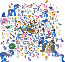 Every Pony Sprite from May 2011 - May 2012 by Blue-Cup