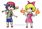 Wind Waker style: Ness and Paula by Eeveetachi