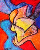 Oil Pastel - Lost in Thought by cubist1234