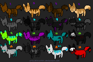 Adoptables Set 3 :4 LEFT: by KojayoAdoptables