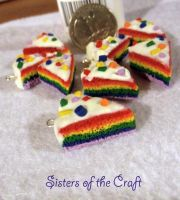 Rainbow Cake Charms by SistersOfTheCraft