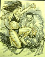 Tigra and Kraven the Hunter by ukosmith