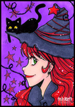Witch and Cat ACEO by tea-bug