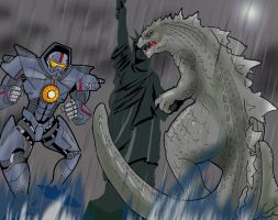 Godzilla Vs Gipsy Danger by Warriorking4ever