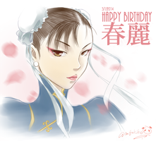 Chun-li 2014 Birthday Art by kenken-abu