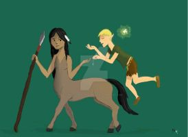Peterpan and Tiger Lily by MysticWonderingWoman