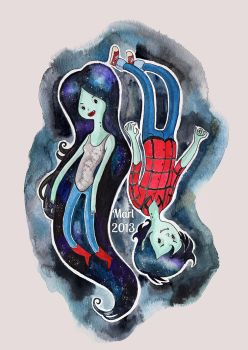 Marceline and Marshall Lee by Scarlet-Adrianne