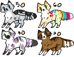 OPEN:: Spots n Stripes kitty adoptables by PineapplesDogs